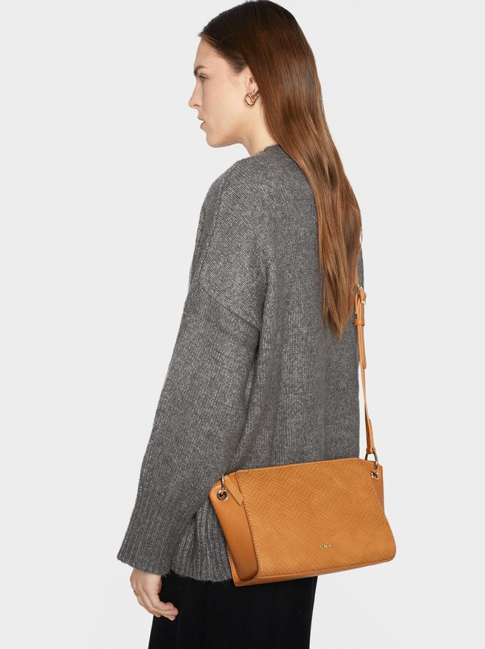 Embossed Crossbody Bag, Mustard, hi-res