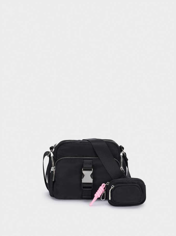 Nylon Crossbody Bag With Outer Pockets, Black, hi-res