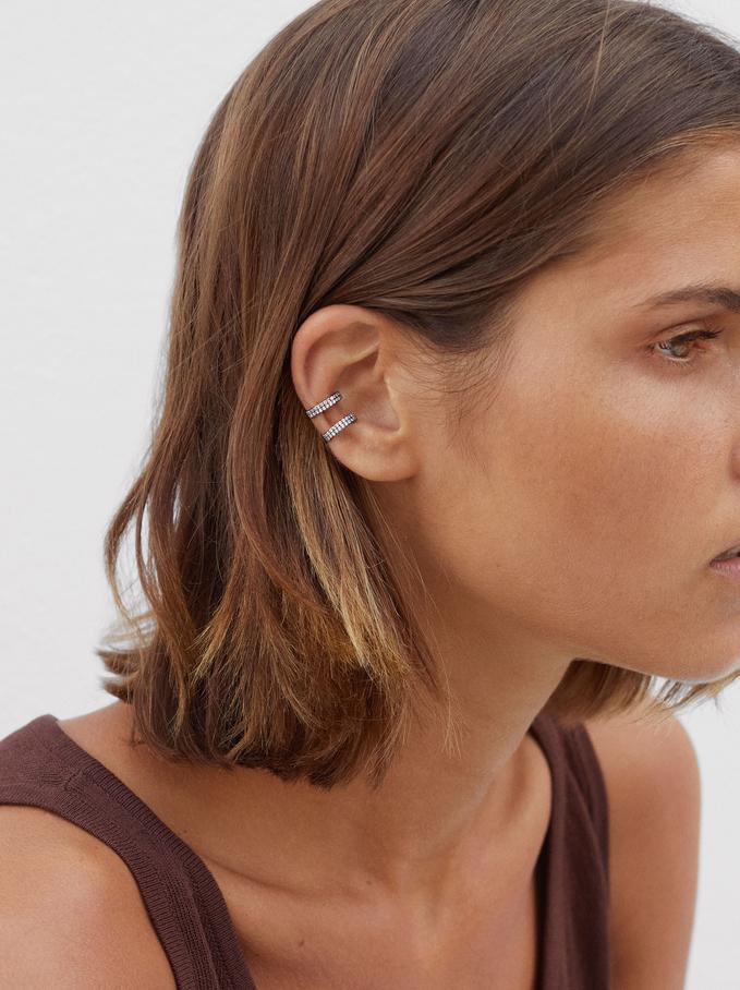 Earcuff Earrings With Cubic Zirconia, Grey, hi-res