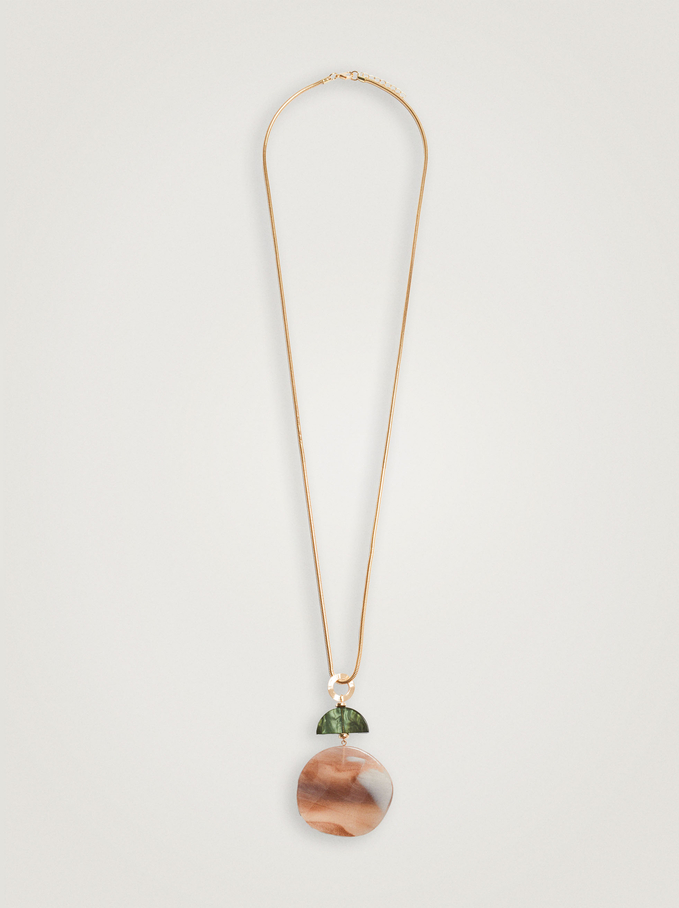 Long Necklace With Resin Pendant, Multicolor, hi-res