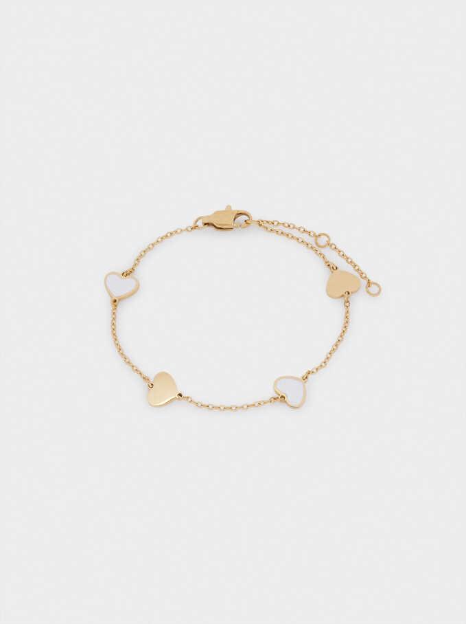 Bracelet En Acier Cœurs, Doré, hi-res