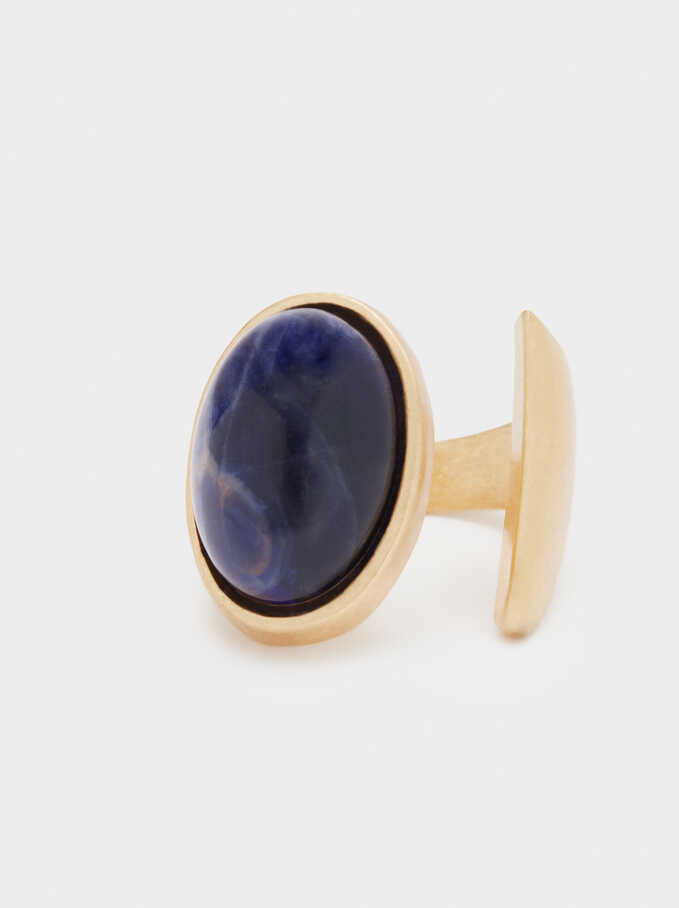 Ring With Stone, Navy, hi-res
