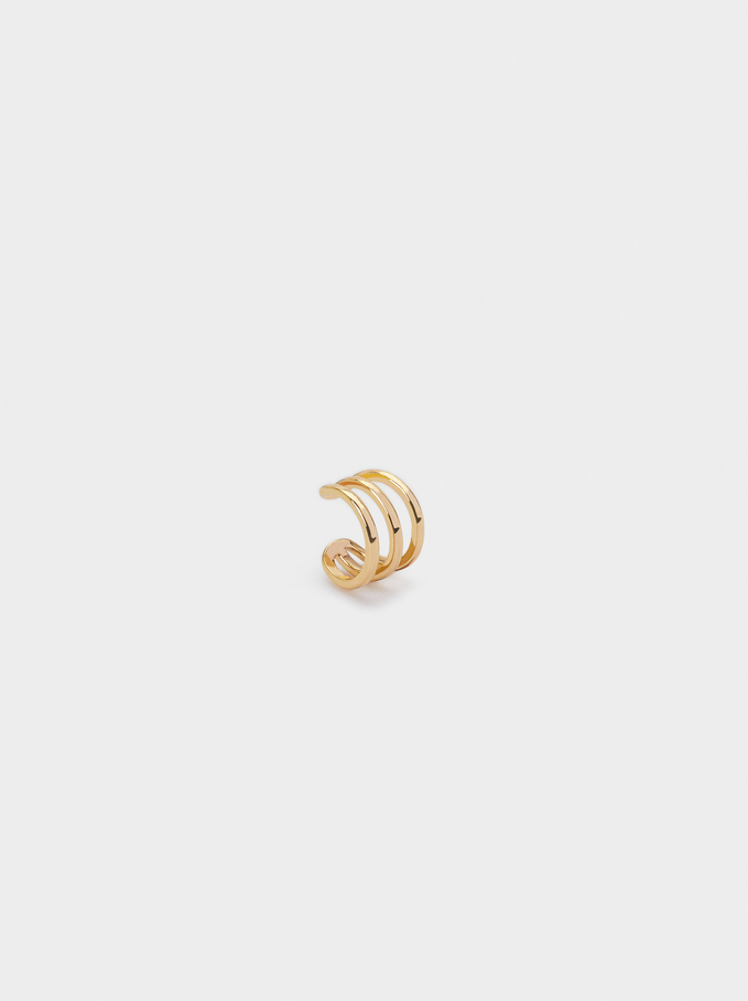 Goldfarbene Ear-Cuff-Ohrringe, Golden, hi-res