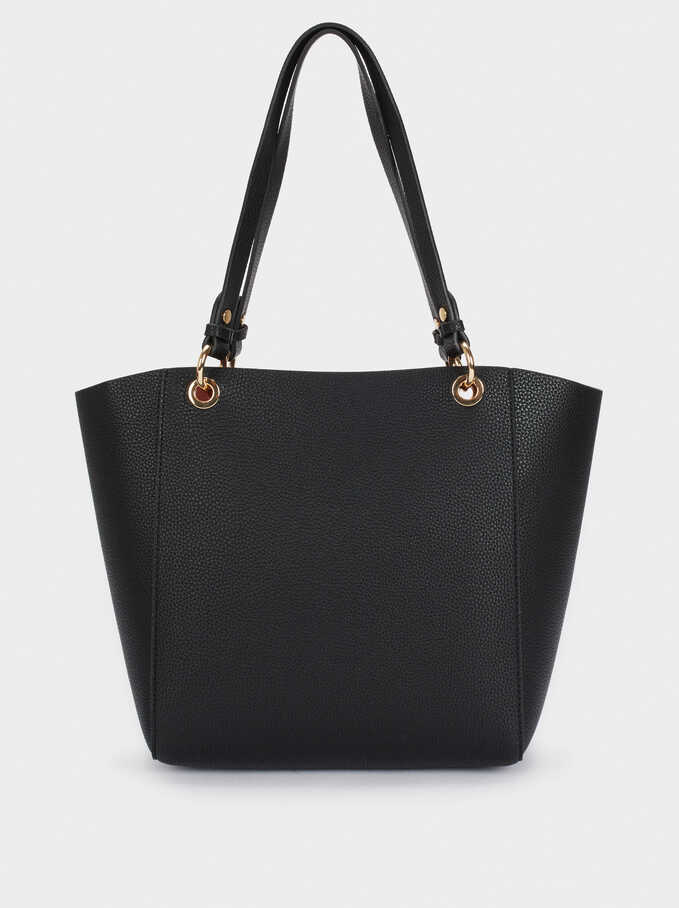 Reversible Tote Bag With Removable Inner Section, Black, hi-res