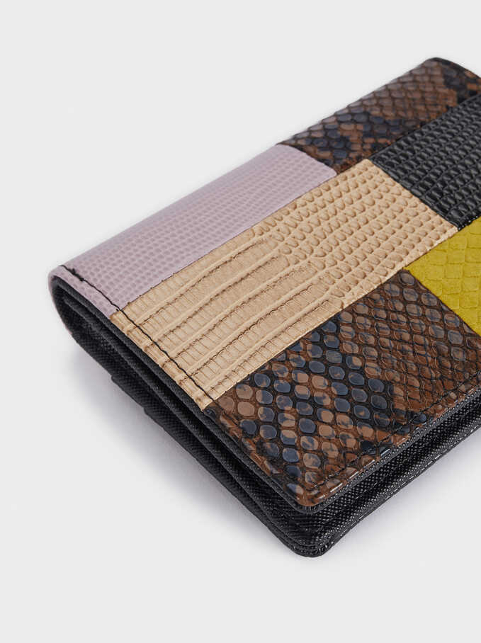 Patchwork Design Compact Wallet, Black, hi-res