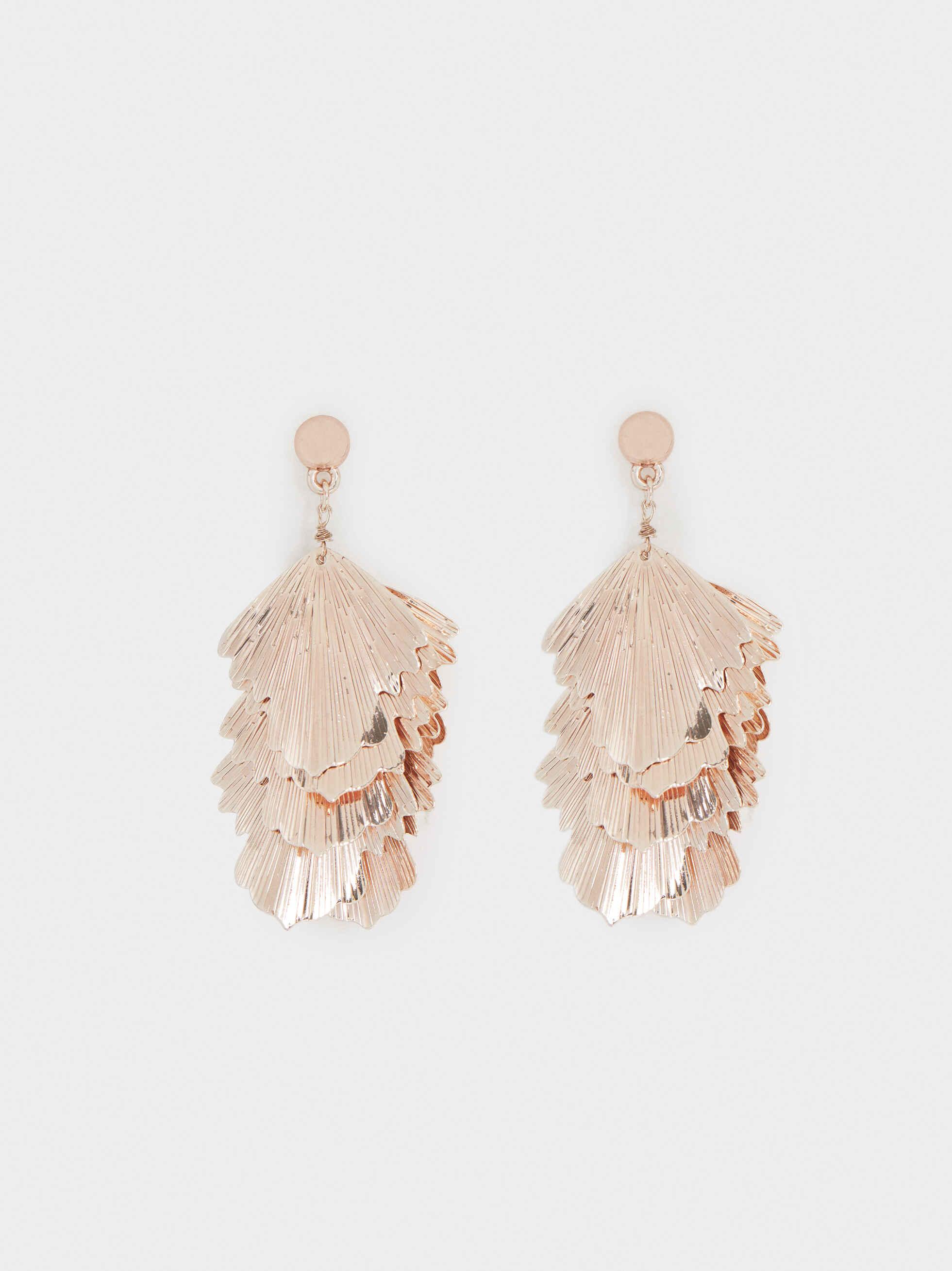 Large Rose Gold Leaf Earrings, Orange, hi-res