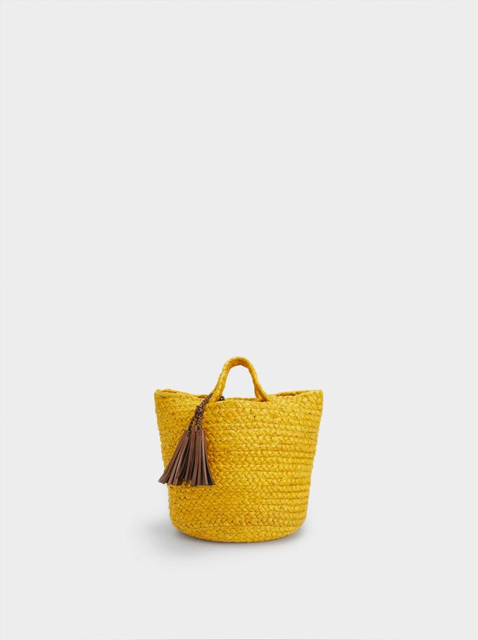 Jute Shopper Bag With Tassels, Yellow, hi-res