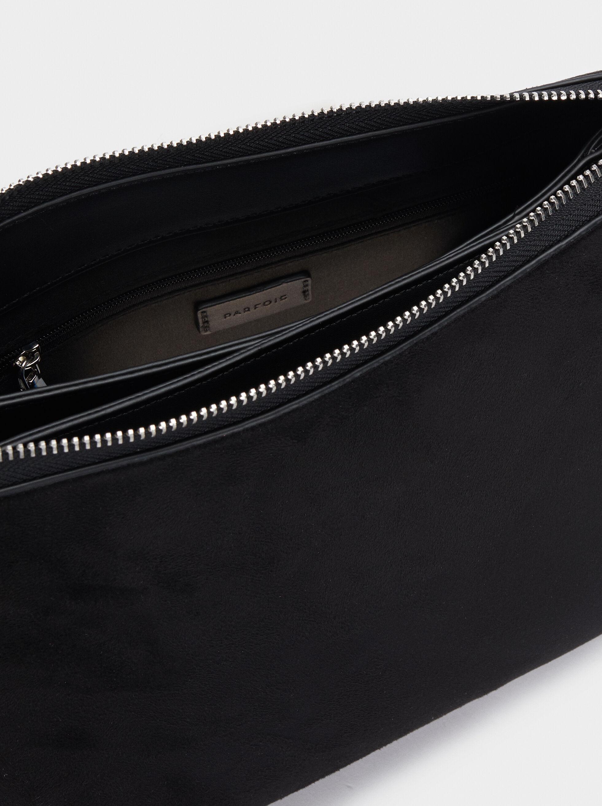 Faux Suede Crossbody Bag, Black, hi-res