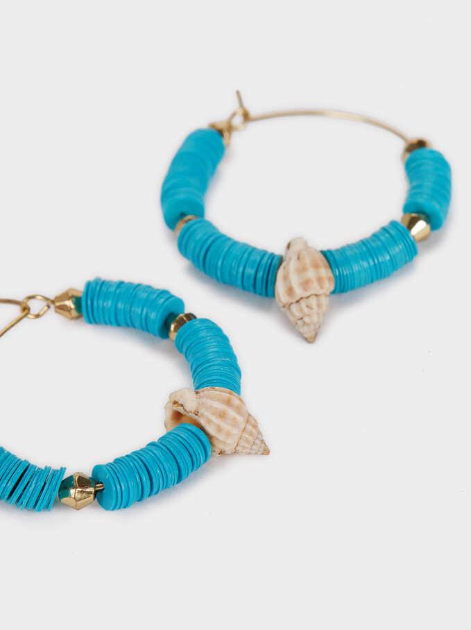 Recife Medium Hoop Earrings With Seashells And Beads, Multicolor, hi-res