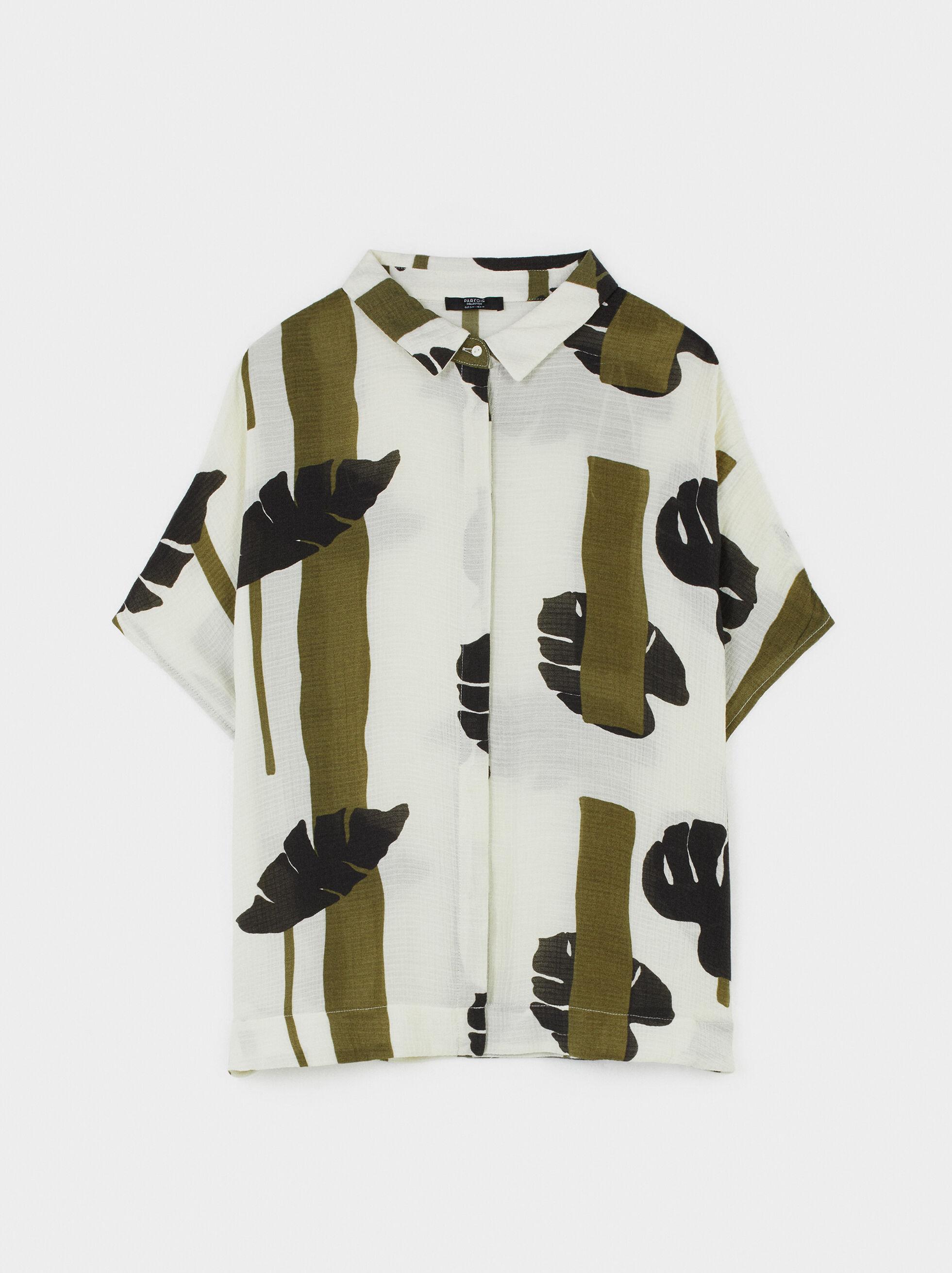 Animal Print Shirt Dress, Khaki, hi-res