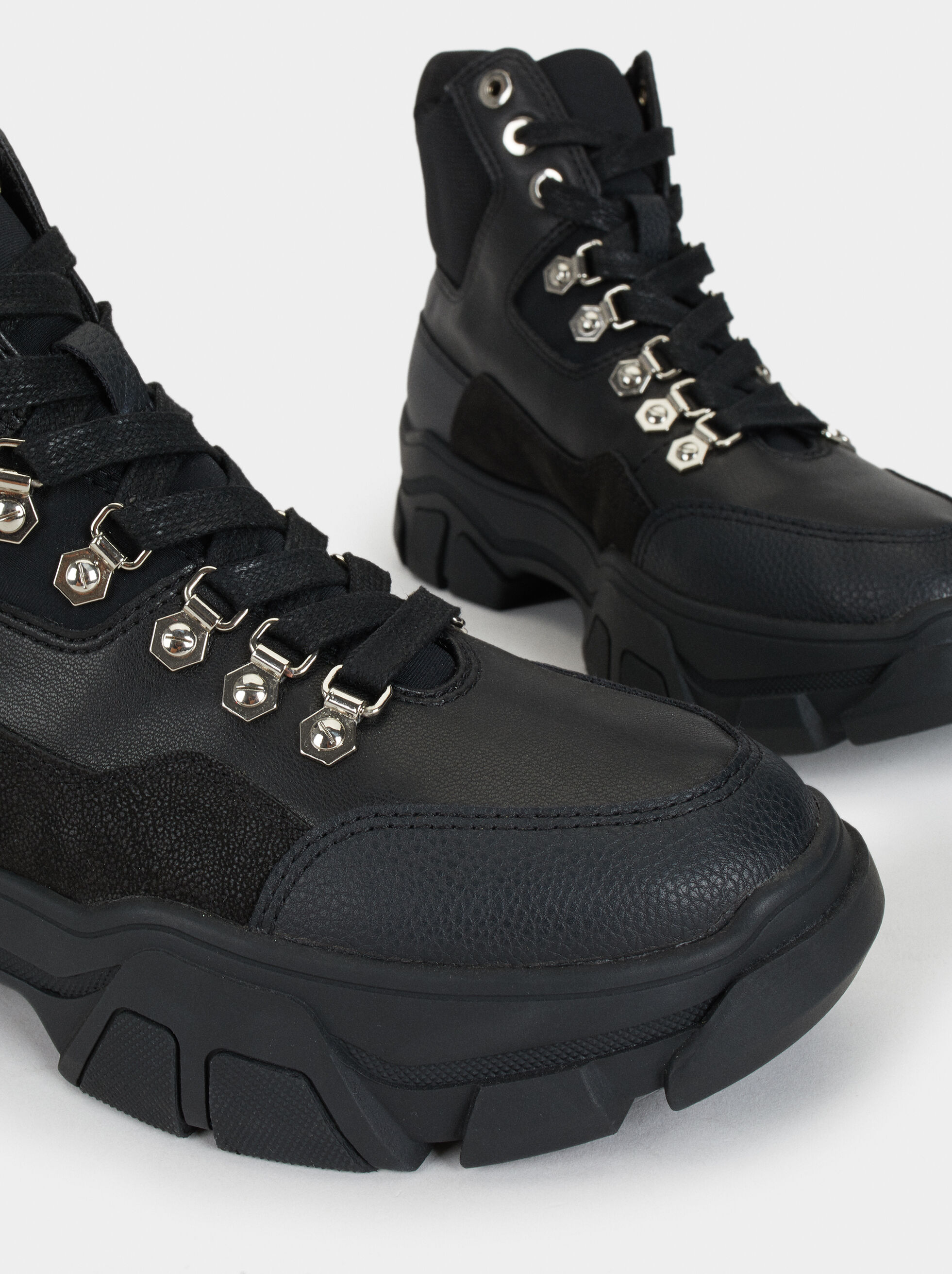 Online Exclusive Mountain-Style Sneakers, Black, hi-res