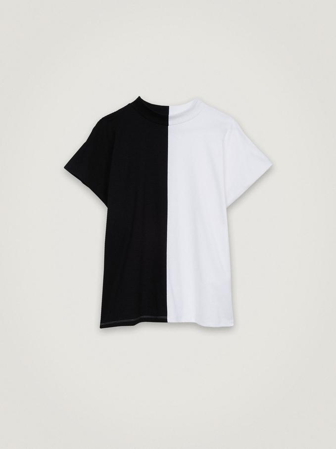 Camiseta Bicolor Con Cuello Redondo, Negro, hi-res