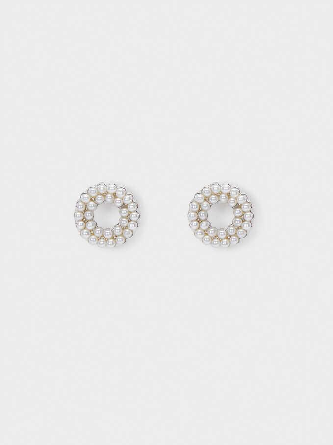 Short Faux Pearl Earrings, Silver, hi-res