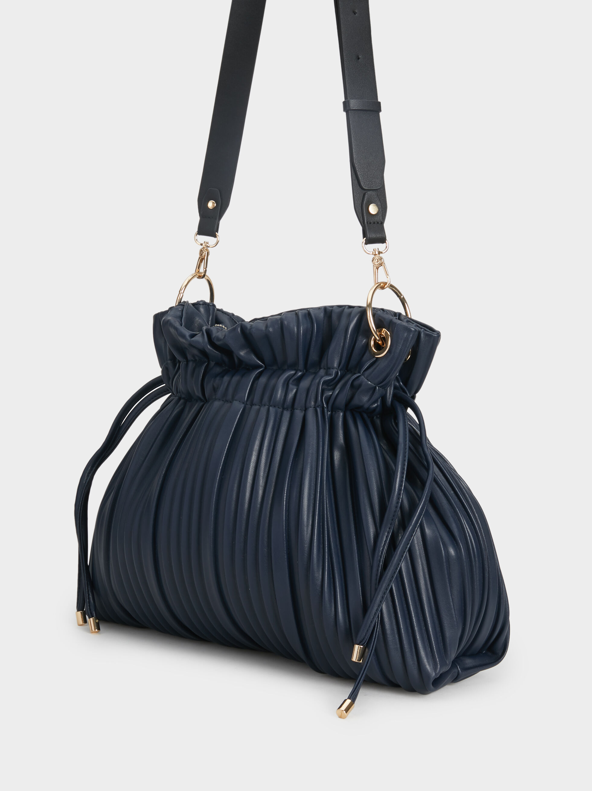 Pleated Bucket Bag, Navy, hi-res
