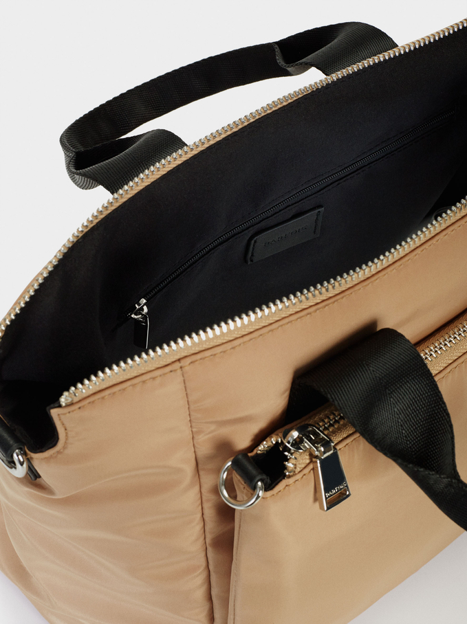 Nylon Tote Bag With Chain Detail, Camel, hi-res