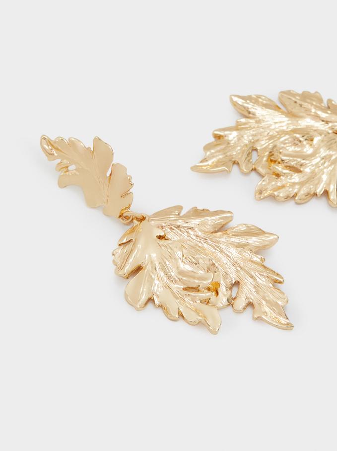 Long Gold Leaf Earrings, Golden, hi-res