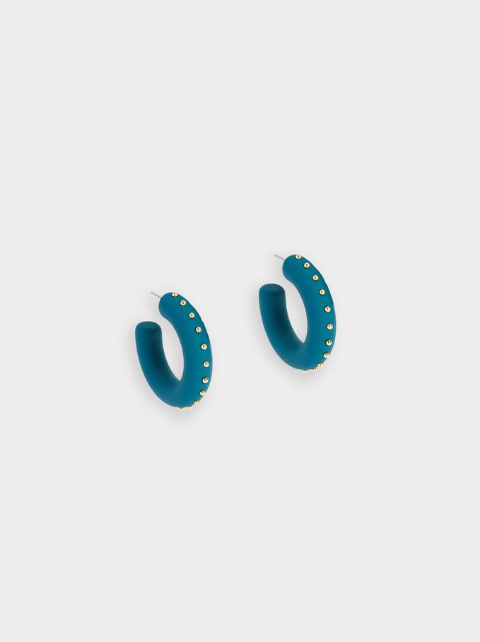 Beaded Hoop Earrings, Grey, hi-res