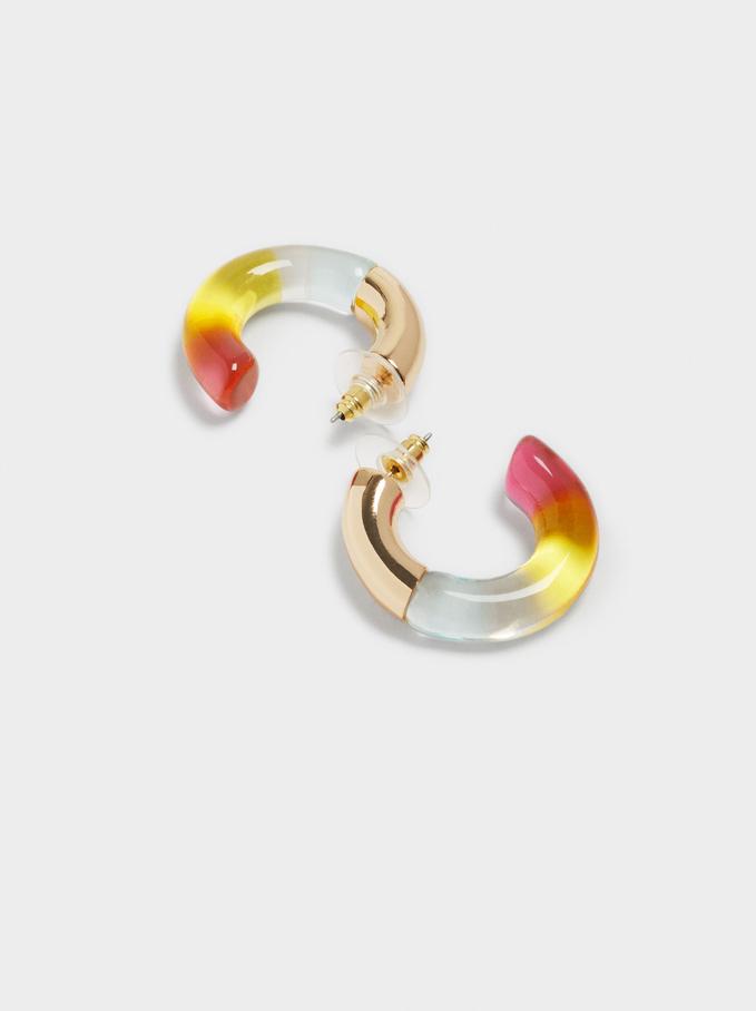 Multicoloured Short Hoop Earrings, Multicolor, hi-res