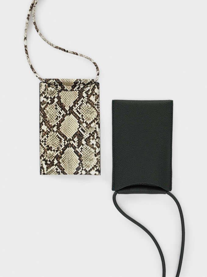 Phone Case With Shoulder Strap , Beige, hi-res