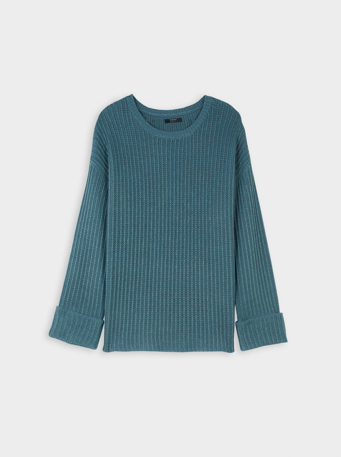 Round Neck Knitted Sweater, Blue, hi-res