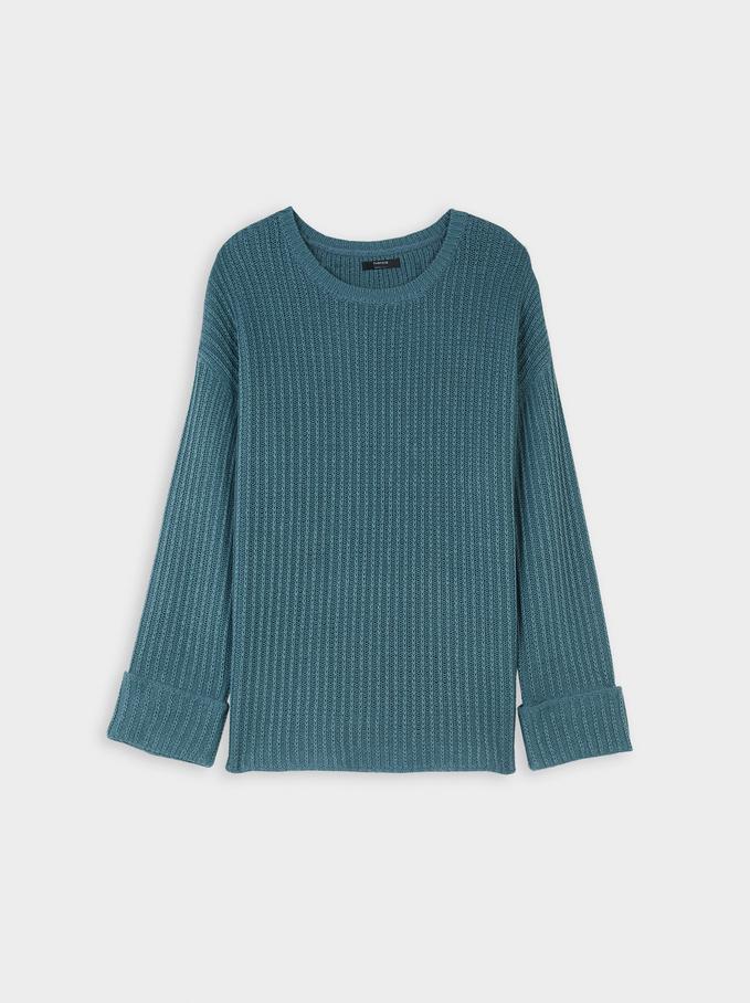 Jersey De Punto Con Cuello Redondo, Azul, hi-res