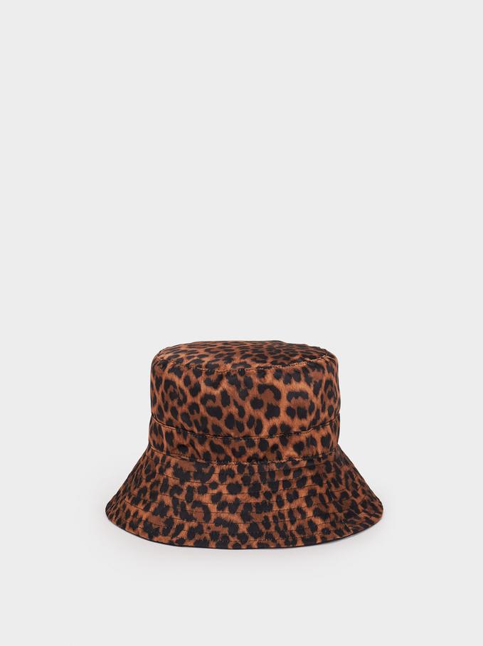 Animal Print Hat, Brown, hi-res