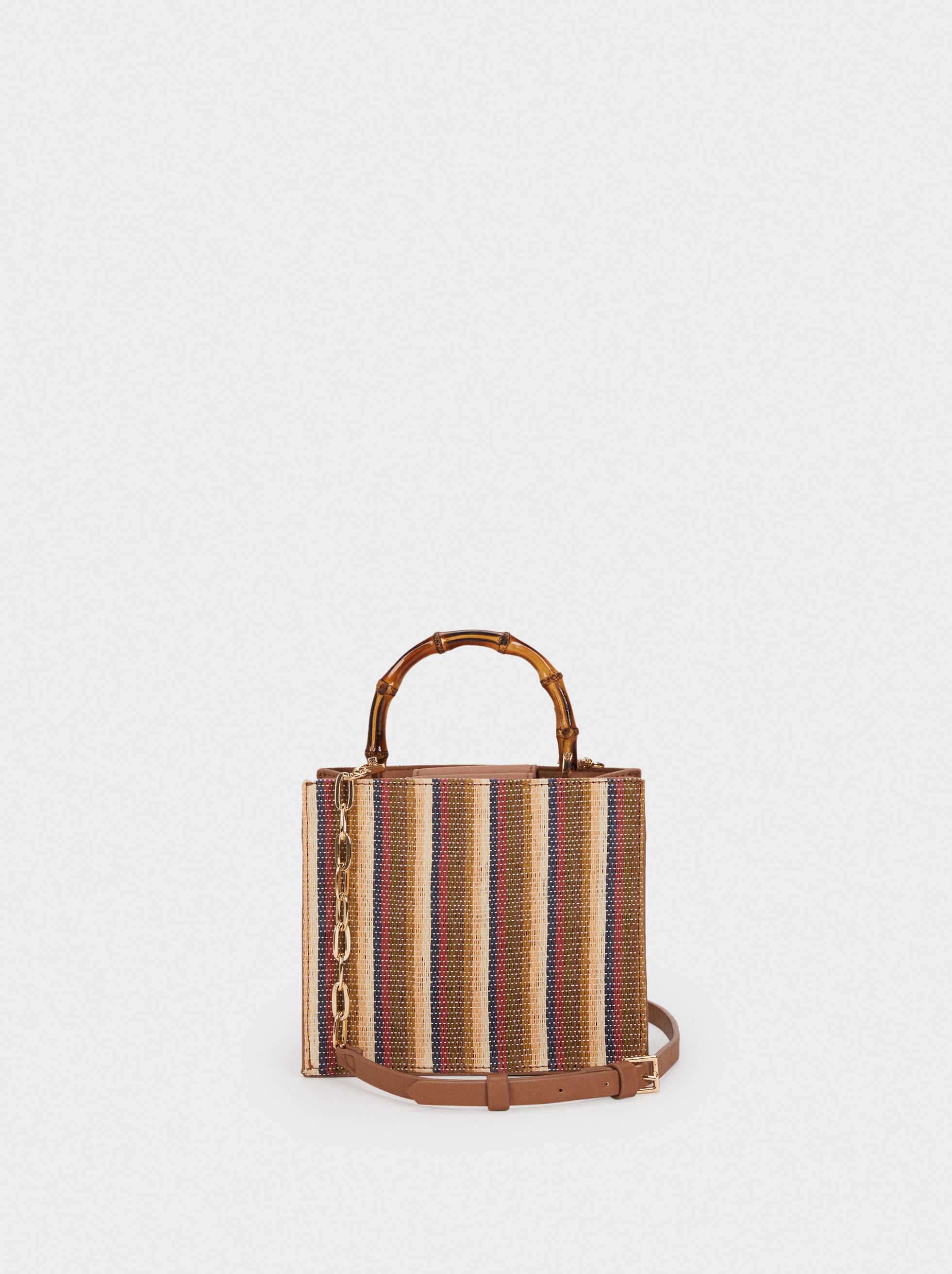 Clutch With Bamboo Strap, Beige, hi-res