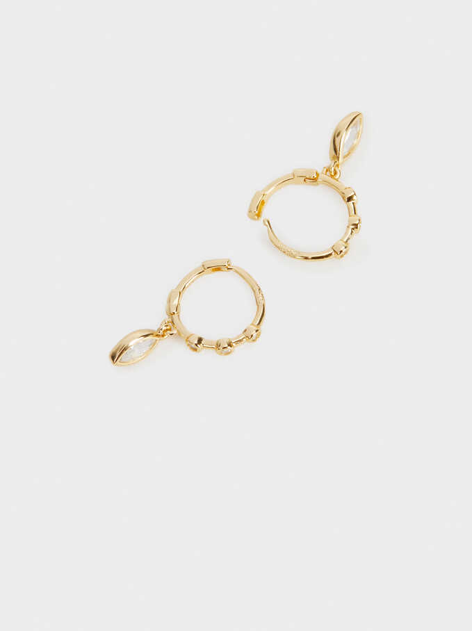 925 Silver Hoop Earrings With Pendant, Golden, hi-res