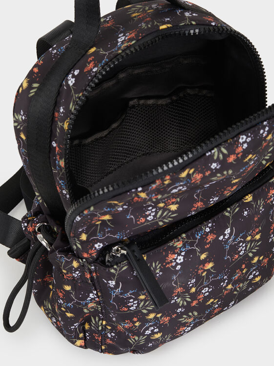 Printed Nylon Backpack, Black, hi-res