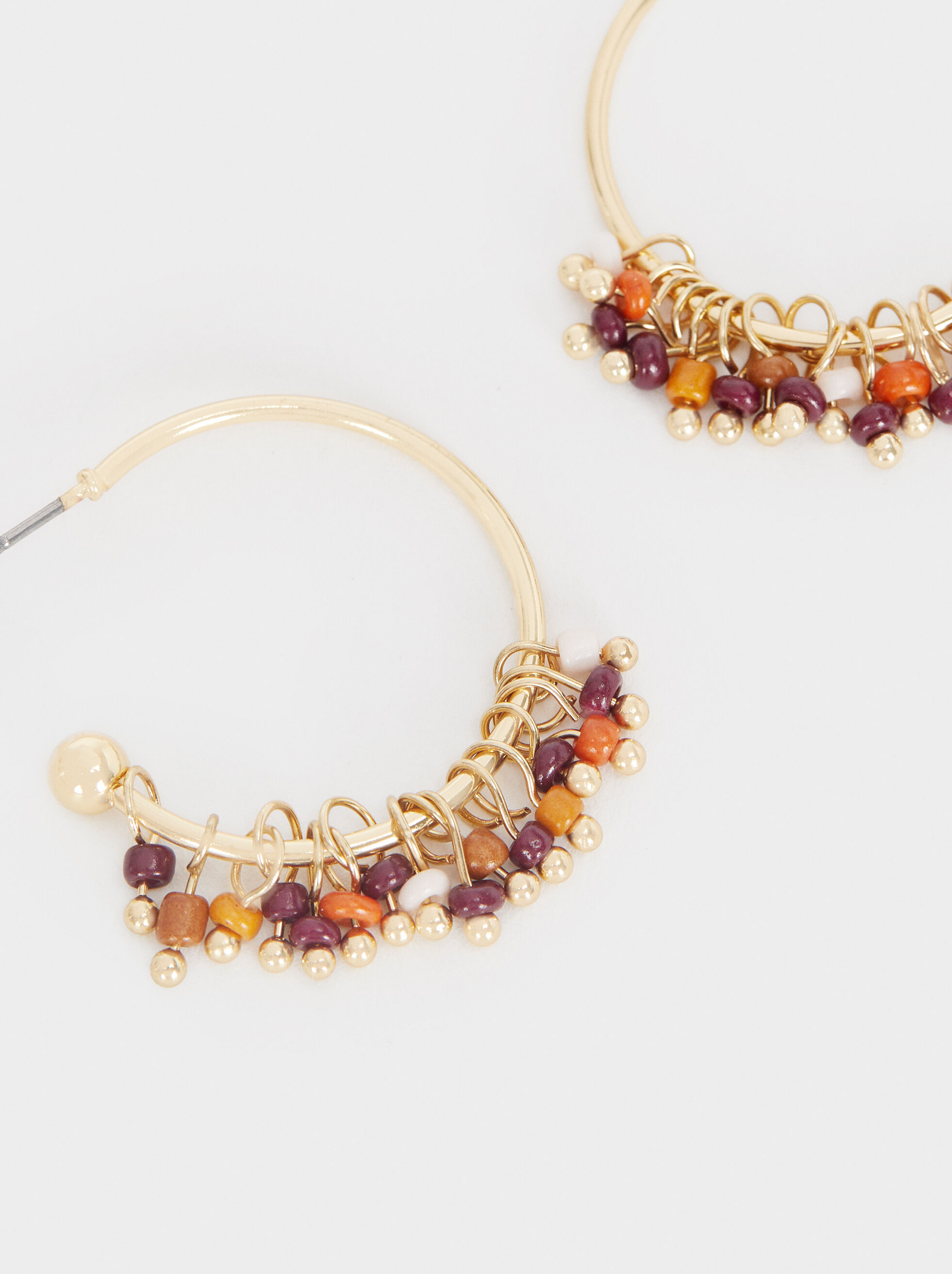 Short Earrings With Multicoloured Beads, Multicolor, hi-res