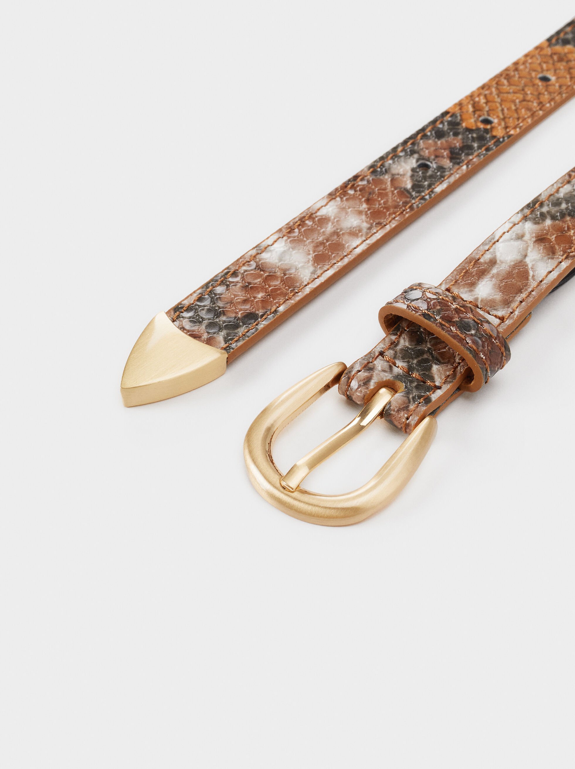 Snakeskin Print Belt, Brown, hi-res
