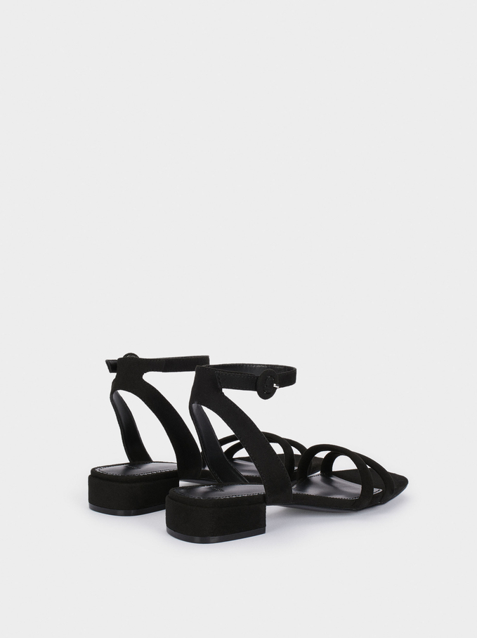 Flat Sandals With Tubular Straps, Black, hi-res