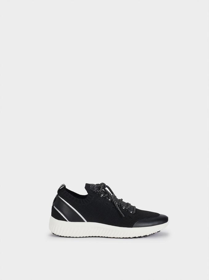 Sneakers Tessuto A Rete, Nero, hi-res