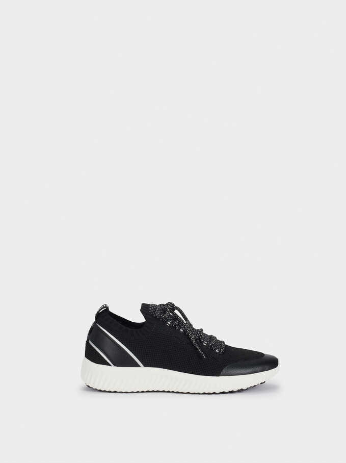 Mesh Fabric Trainers, Black, hi-res