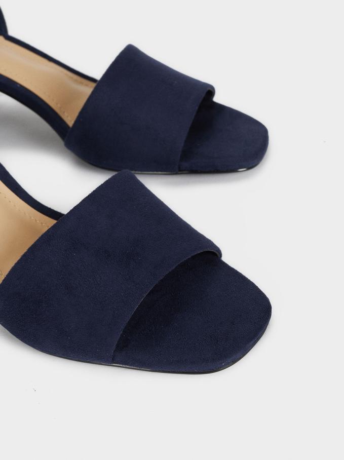 Sandales Talons Moyens À Brides, Bleu Foncé, hi-res