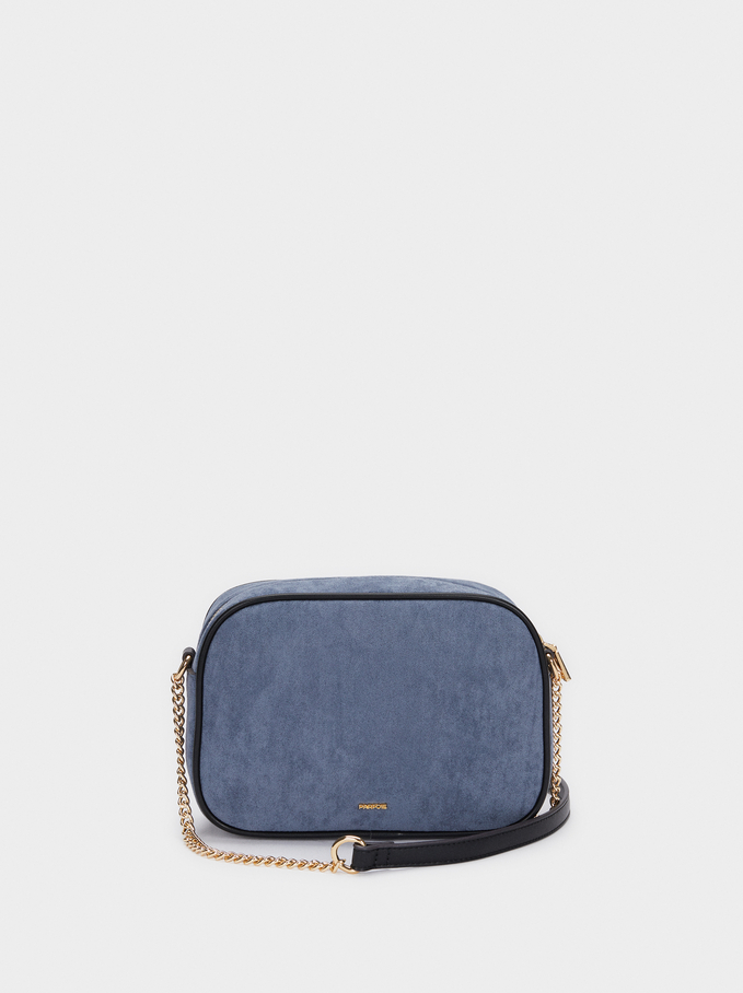 Faux Suede Crossbody Bag With Contrast Strap, Blue, hi-res