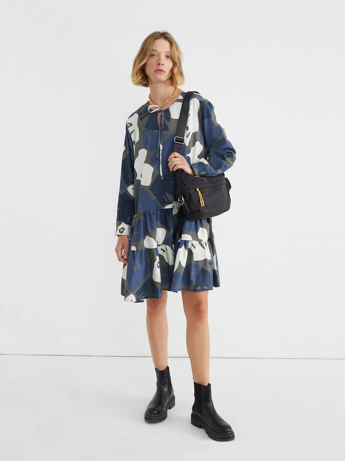 Robe À Imprimé Floral, Bleu, hi-res