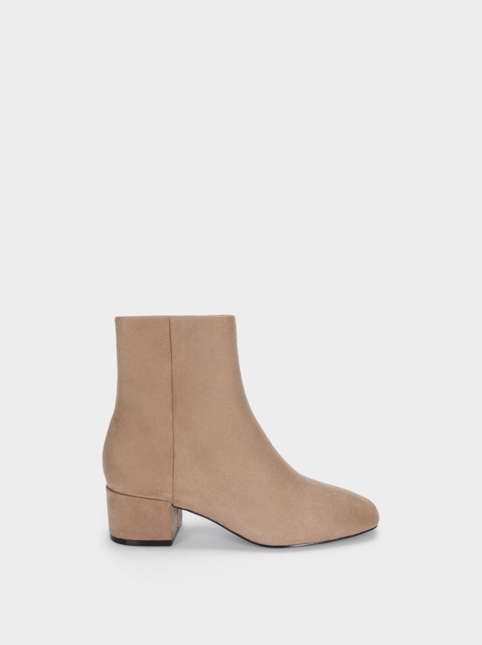 Leather Heeled Ankle Boots, Brown, hi-res