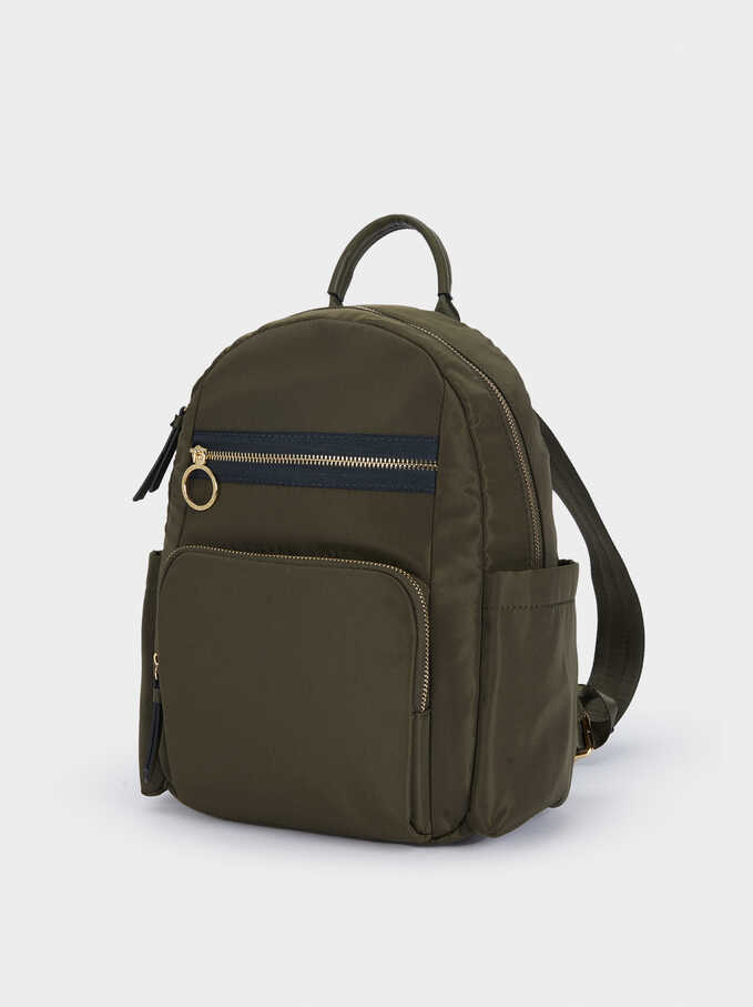 Nylon Backpack With Exterior Pockets, Khaki, hi-res