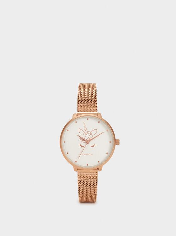 Watch With Metallic Mesh Wristband, Orange, hi-res