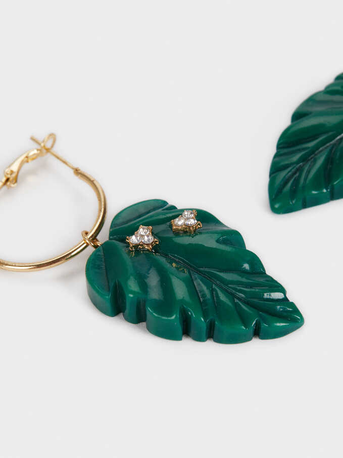 Large Hoop Earrings With Leaves And Crystals, Green, hi-res