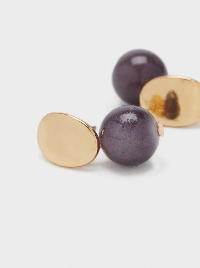 Stone Stud Earrings, Violet, hi-res