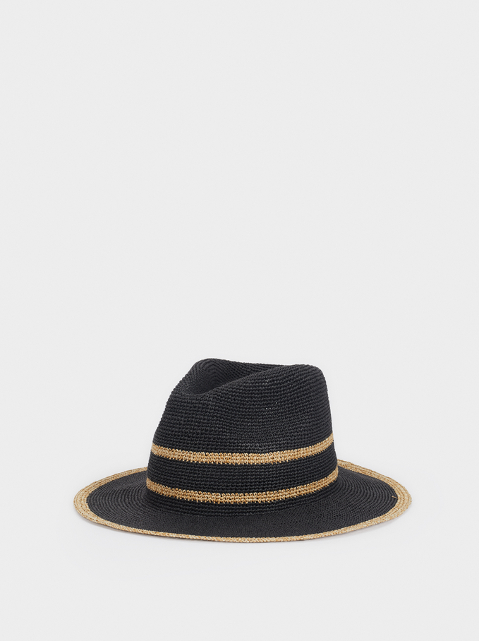 Raffia Textured Hat, Black, hi-res