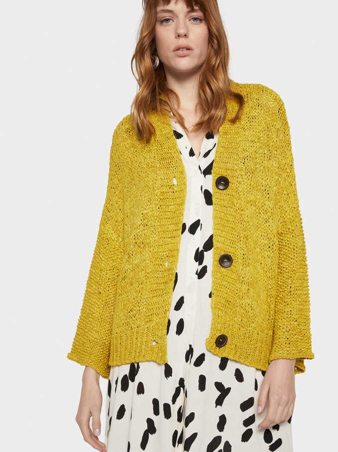 Oversized Knit Cardigan, Yellow, hi-res