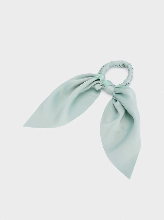 Bow Scrunchie, Green, hi-res