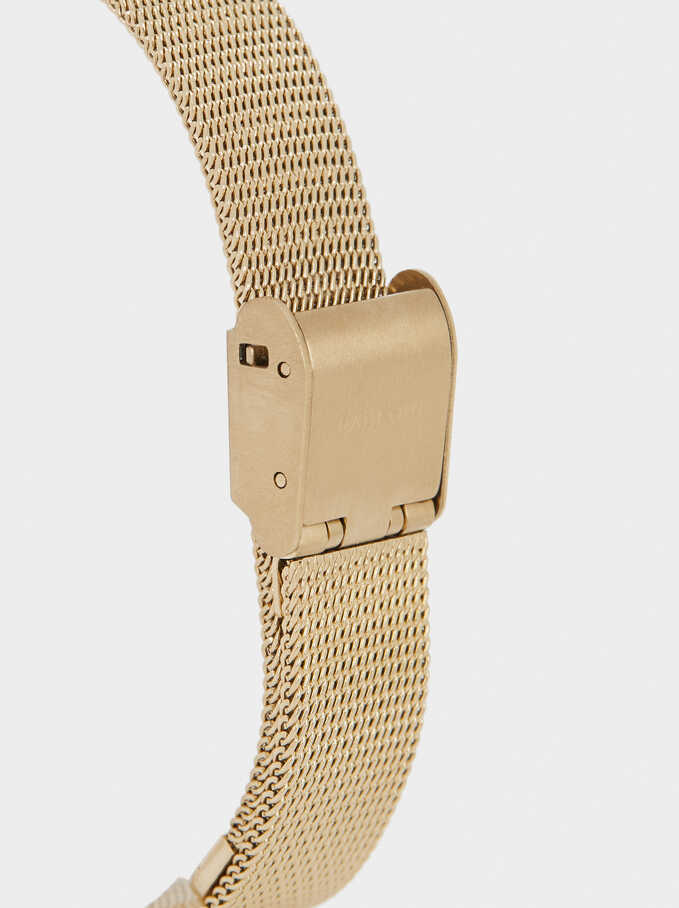 Watch With Metal Mesh Strap And Contrasting Face, Golden, hi-res