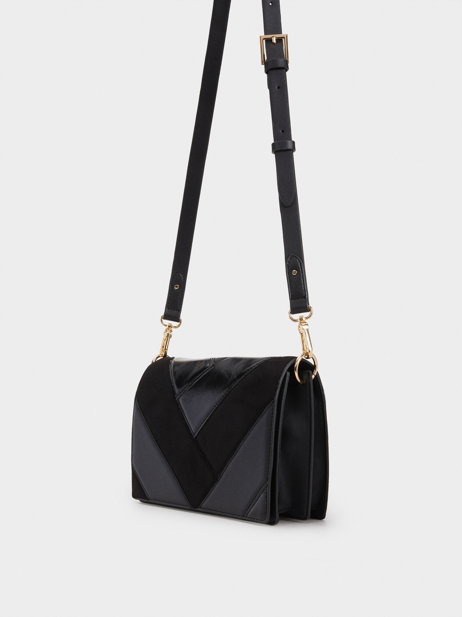 Patchwork Shoulder Bag, Black, hi-res
