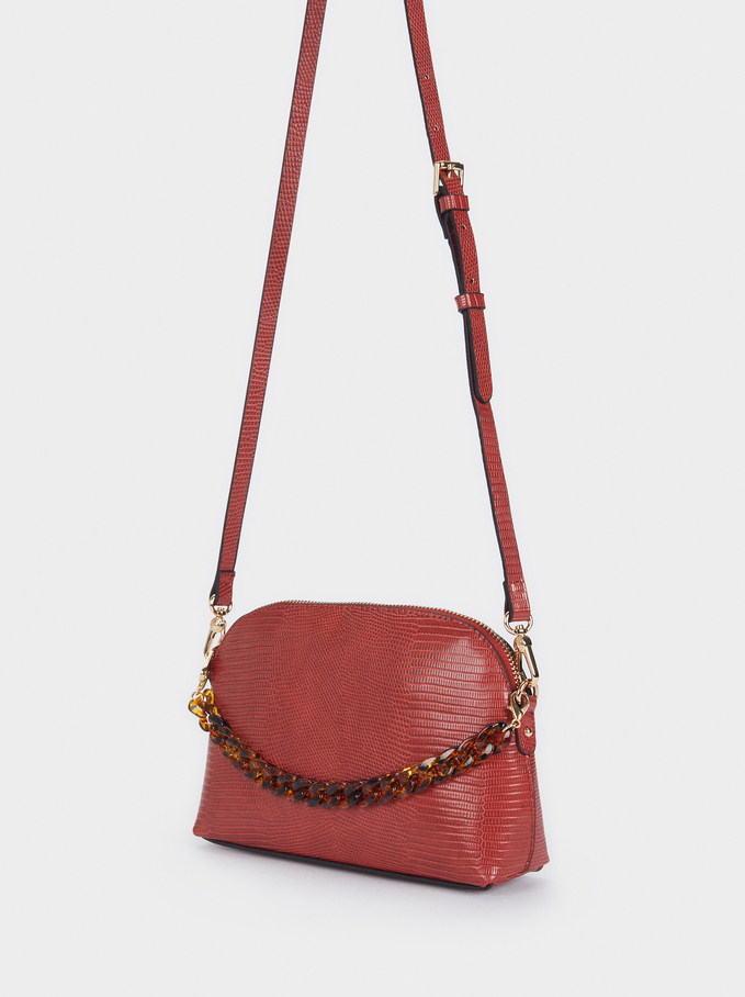 Animal Embossed Crossbody Bag, Brick Red, hi-res