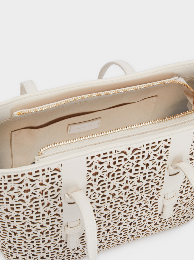 Tote Bag With Openwork Detailing, Ecru, hi-res