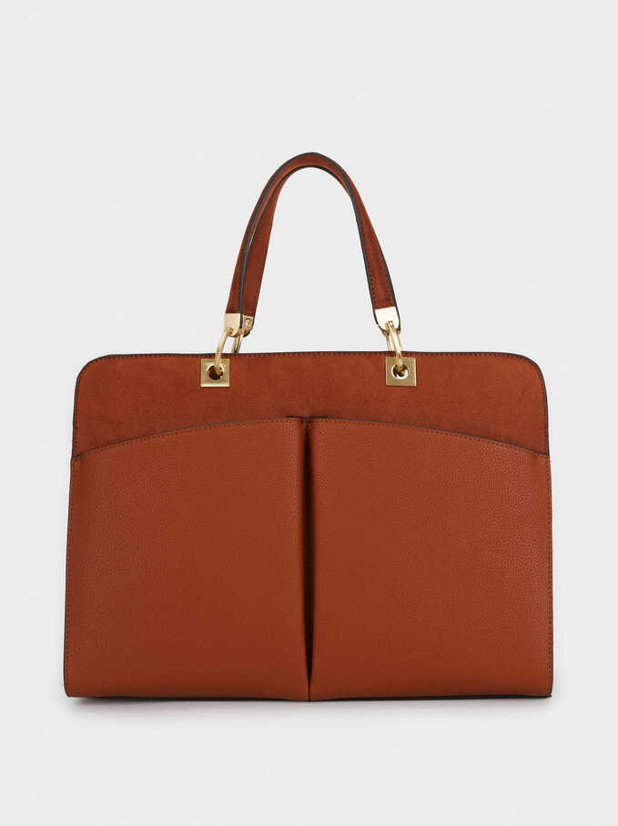 Briefcase With An Inner Pocket, Camel, hi-res